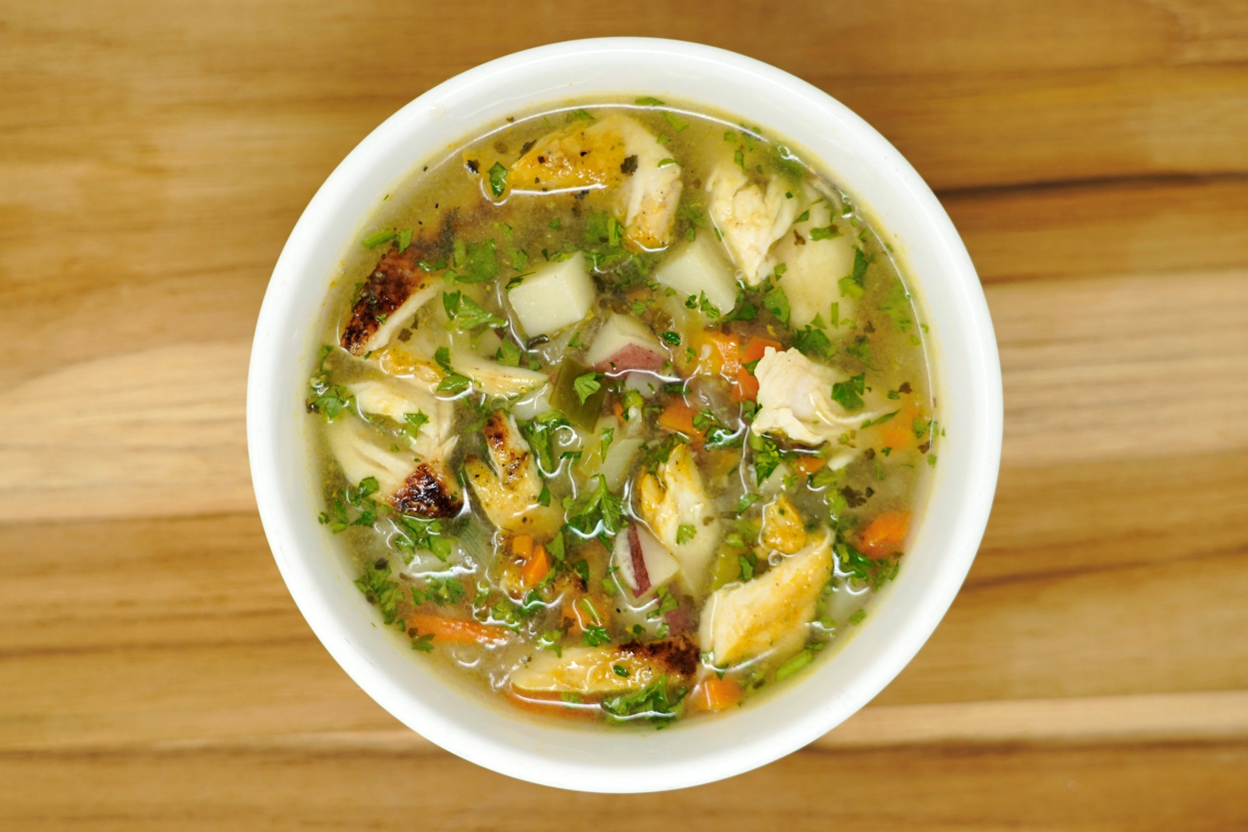 Potato & Leek Soup w/ Tarragon Chicken