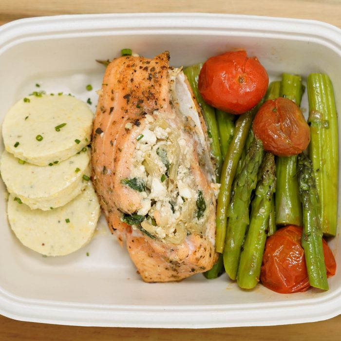 Stuffed Salmon with Polenta Cakes-an Asparagus and Tomatoes