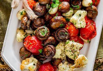 Roasted Cremini Mushrooms, Grape Tomatoes and Cauliflower (BULK PORTION)